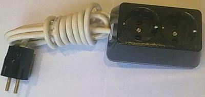Български разклонители - Разклонител 2ка трапец черен + 2м. кабел