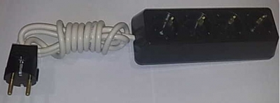 Български разклонители - Разклонител 4ка трапец черен + 2м. кабел