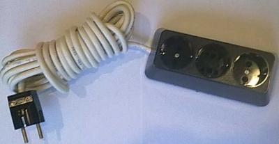 Български разклонители - Разклонител 3ка трапец черен + 5м. кабел