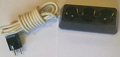 Български разклонители - Разклонител 3ка трапец черен + 3м. кабел