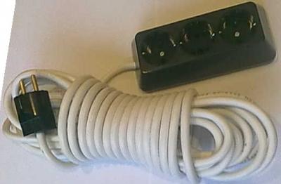 Български разклонители - Разклонител 3ка трапец черен + 10м. кабел