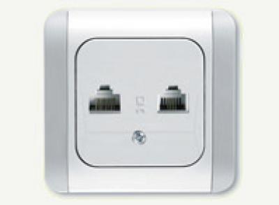 Карделен - Карделен контакт RJ11+RJ45 бял