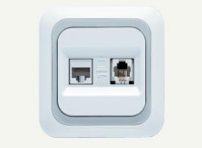 Ясемин - Ясемин контакт RJ11 + RJ45 бял